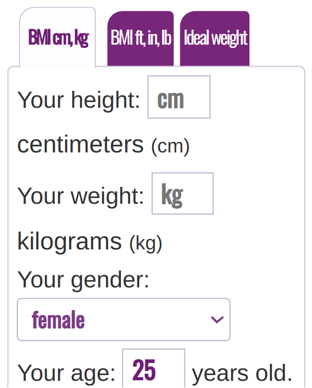 BMI Calculator Metric System