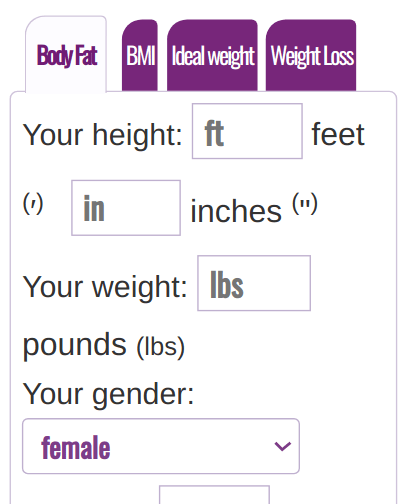 Body fat percentage calculator English System