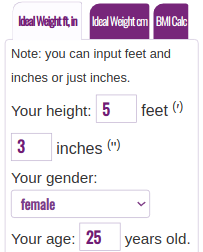 Ideal Weight Calculator English System